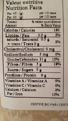 oat flakes - Nutrition facts