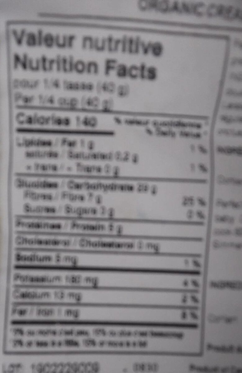 Creme dorge - Nutrition facts - fr