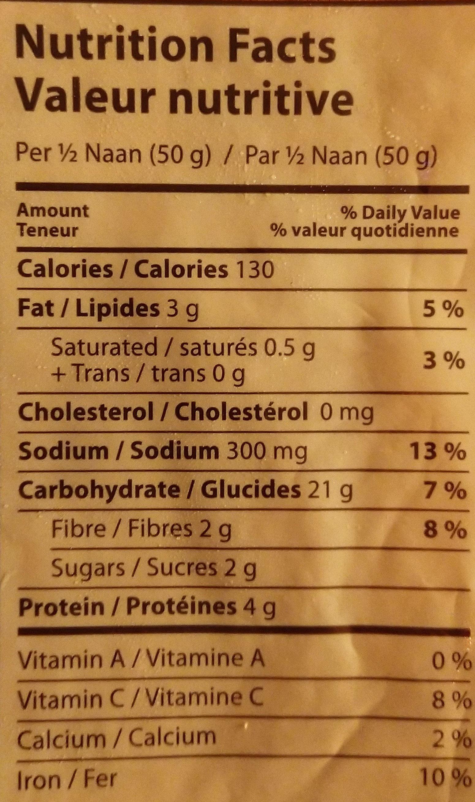 Tandoori naan - Nutrition facts - fr