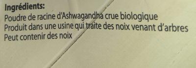 Poudre de racine d'Ashwagandha Root Powder - Ingrédients - fr
