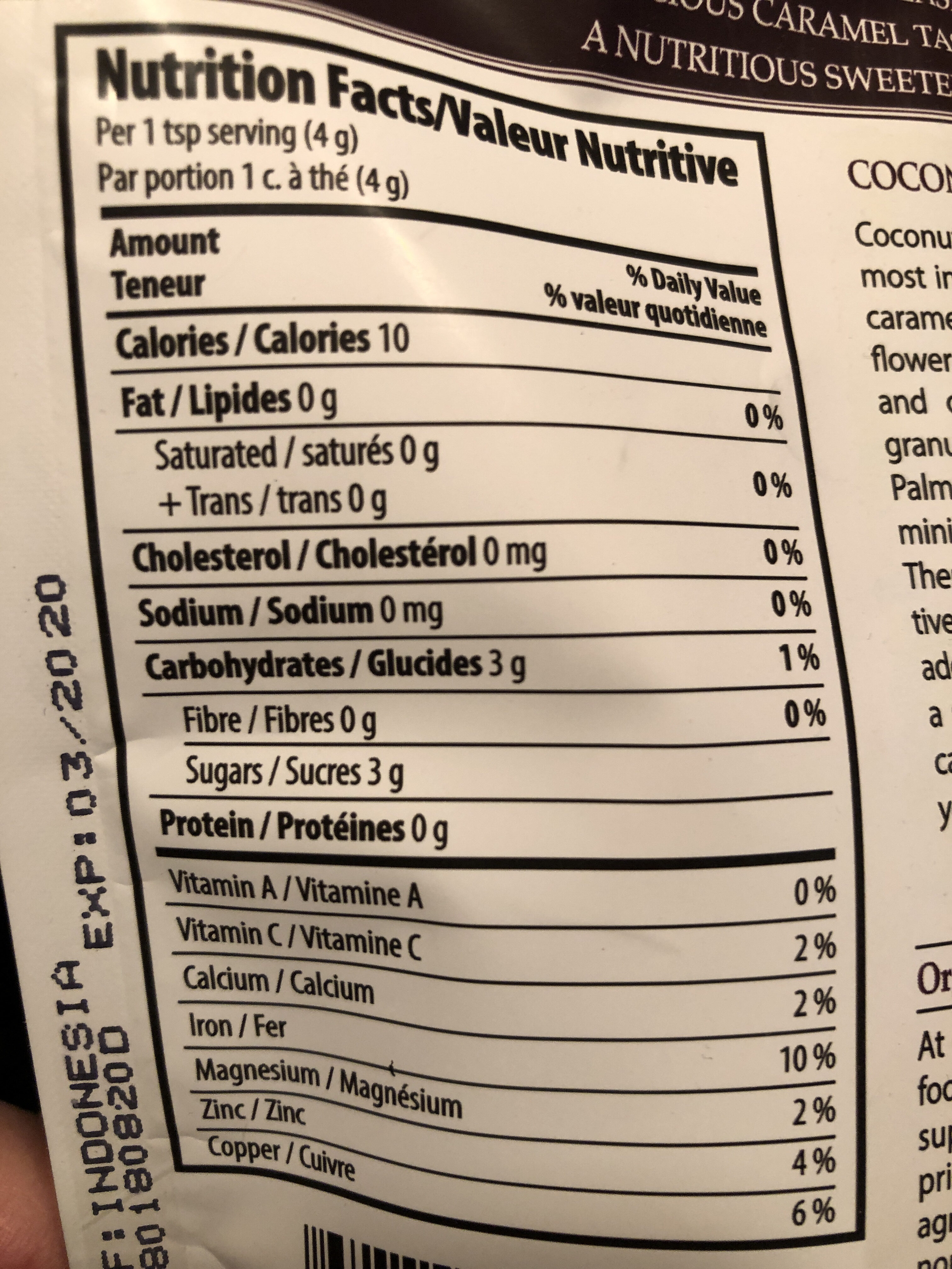 Coconut palm sugar - Nutrition facts - fr