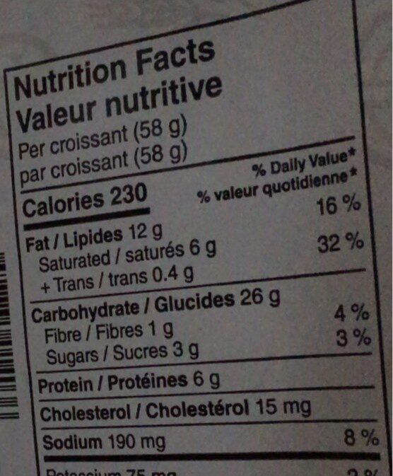 Croissant au beurre - Informations nutritionnelles - fr