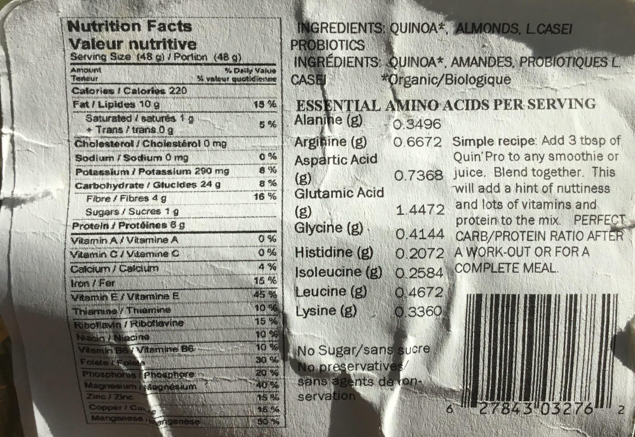 Poudre de Quinoa avec Probiotiques - Ingredients
