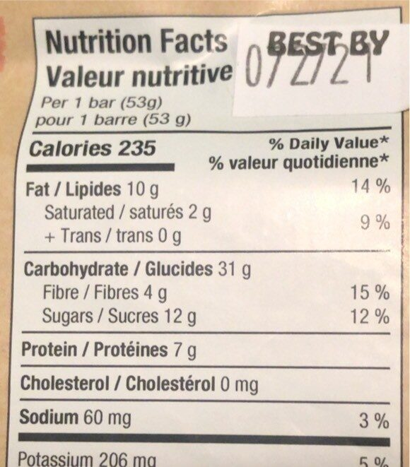 Snack bar - Nutrition facts - fr
