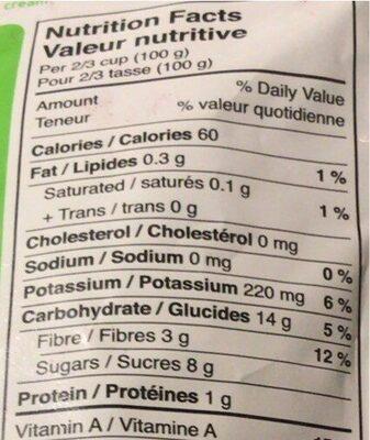 Camerises congelées - Nutrition facts - fr
