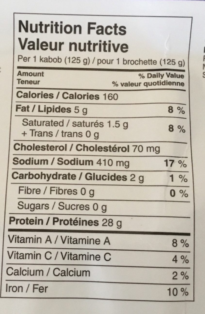 Slouvaki à la Grecque - Nutrition facts