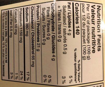 Lanières de poitrine de poulet roties a la flammr - Informations nutritionnelles - fr