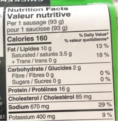 Saucisses de poulet - Nutrition facts - fr