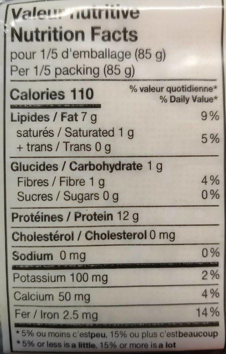 Tofu ferme nature biologique - Informations nutritionnelles - fr