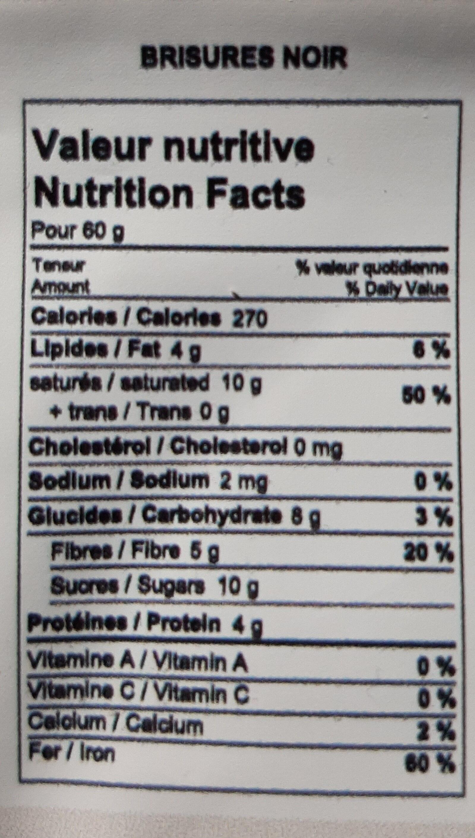 Brisures de chocolat noir 70% - Nutrition facts - fr
