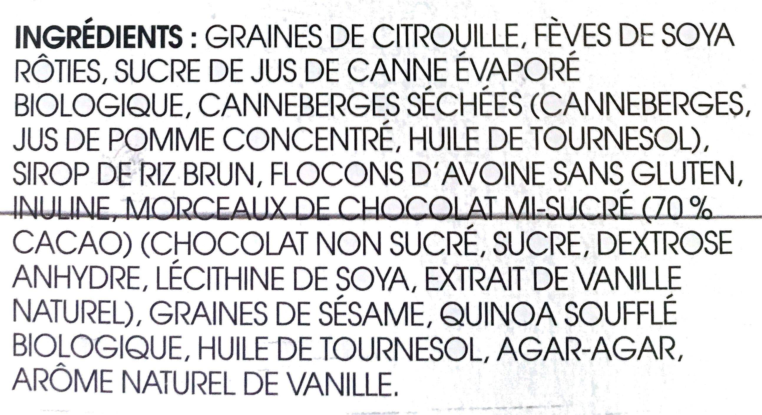Barre de graines et de fruit chocolat canneberge - Ingrédients - fr