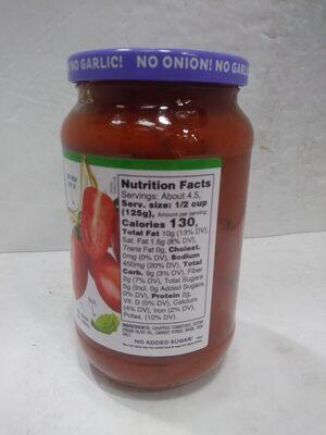 Tomato basil pasta sauce - Valori nutrizionali - en