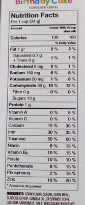 Timbits births cake - Informations nutritionnelles - en
