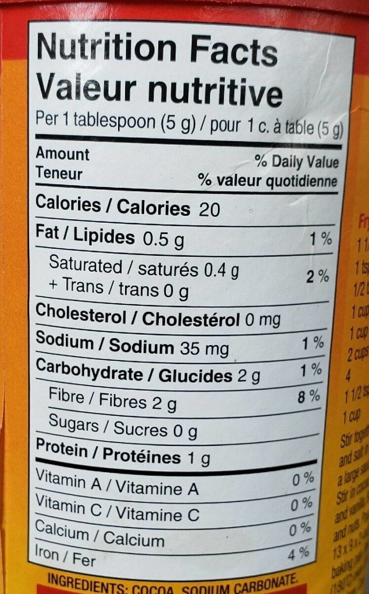 Cacao - Voedingswaarden - en