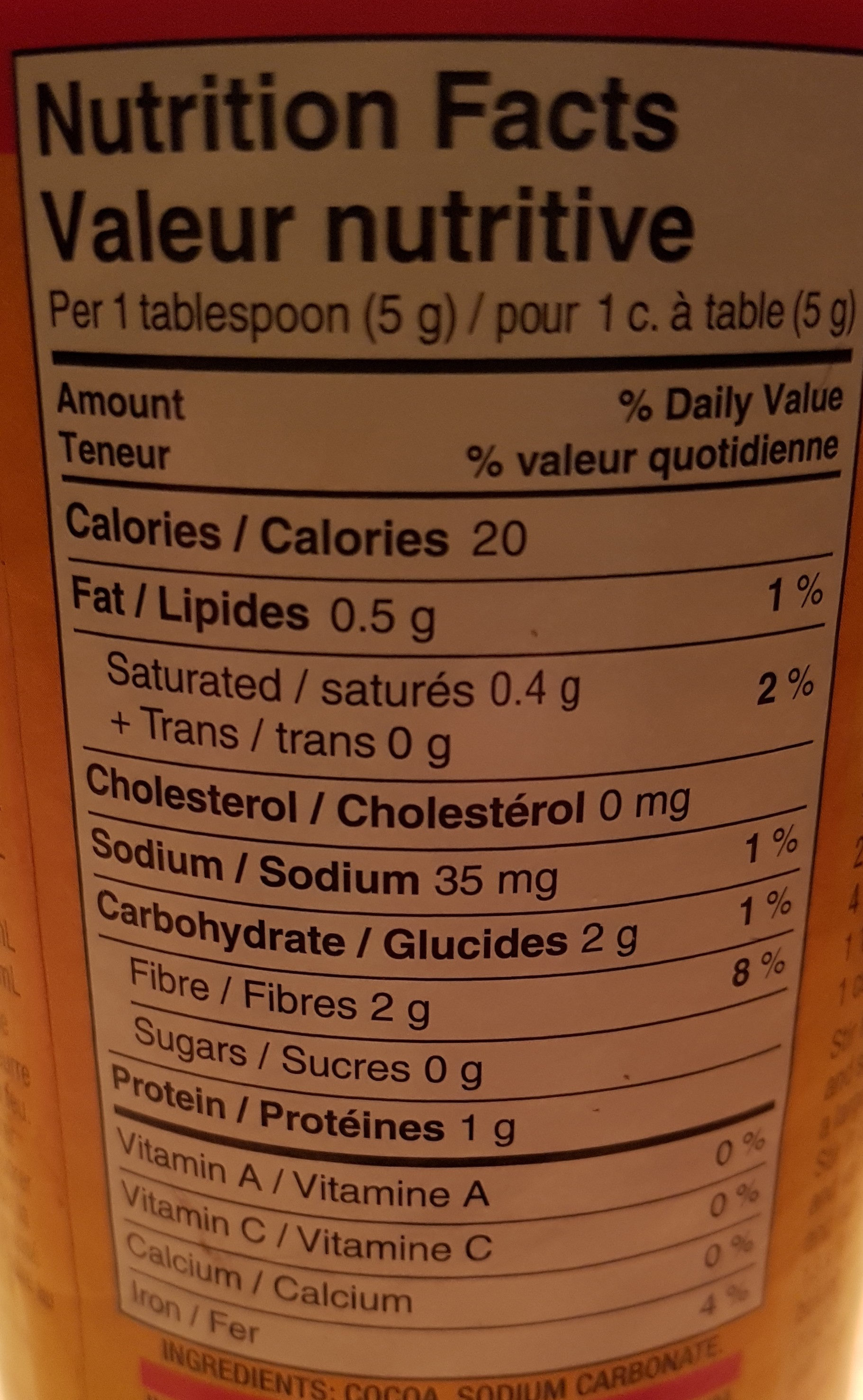 Fry's cocoa - Nutrition facts