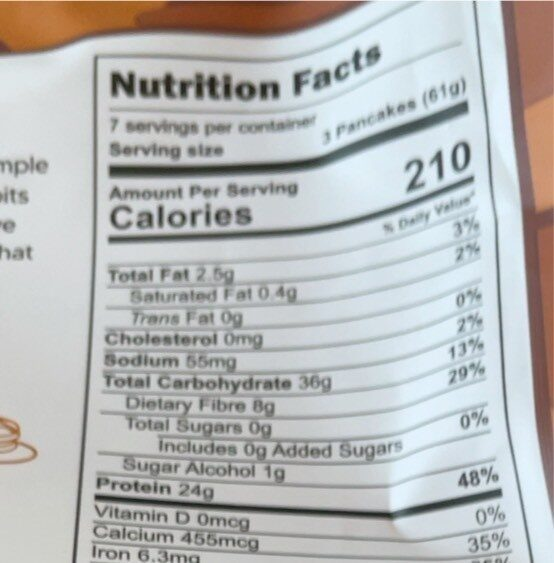 Protein pancake - Nutrition facts - fr