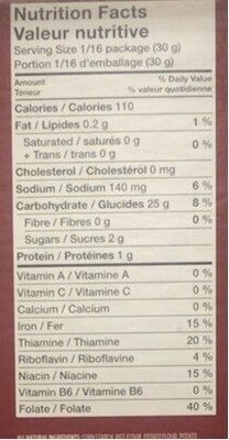 Gluten free pizza crust mix - Informations nutritionnelles - en