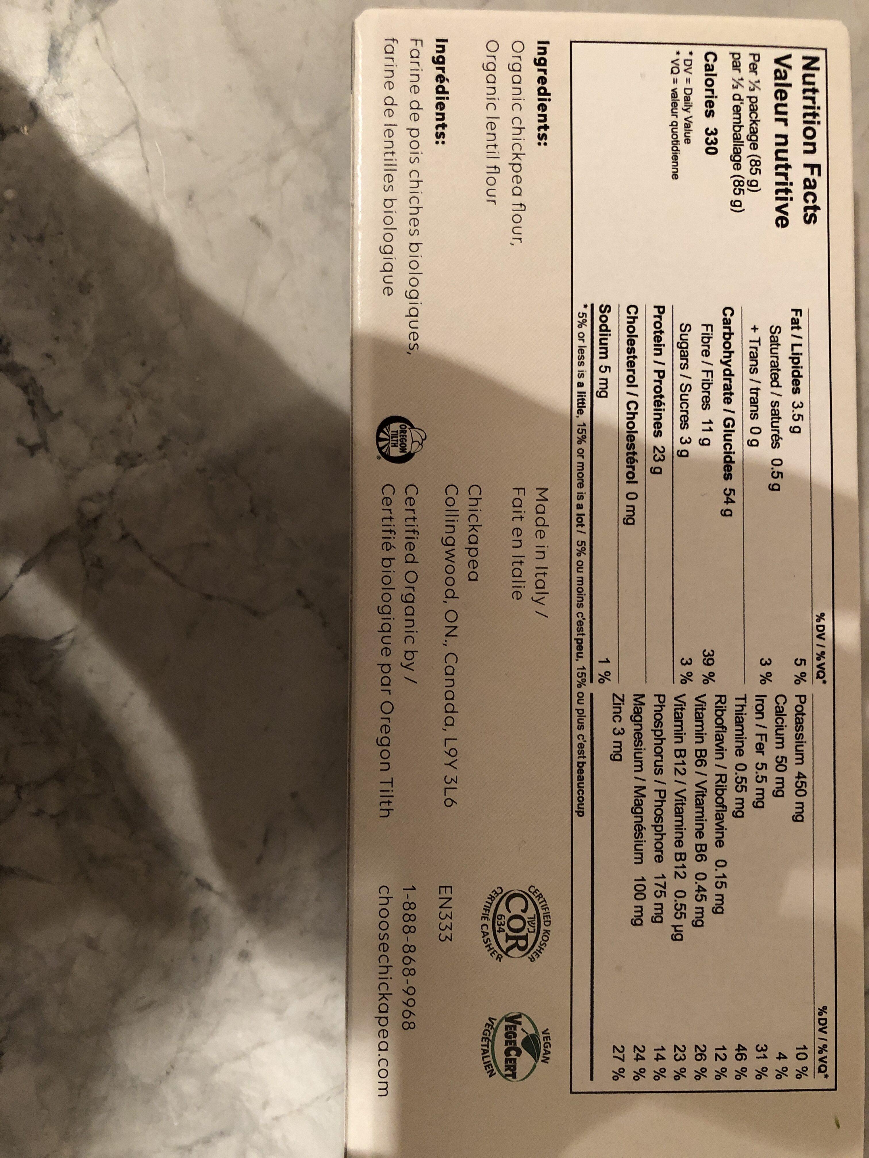 Organic Linguine - Informations nutritionnelles - fr
