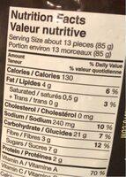 Frites de pomme de terre douce - Nutrition facts - fr
