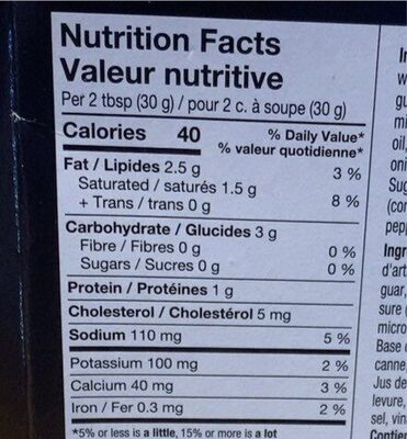 trempette d'épinards - Informations nutritionnelles - fr