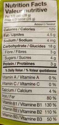 Avoine onctueuse exquise céréales complètes pour bébé - Informations nutritionnelles - fr