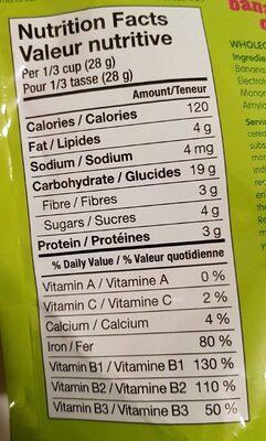 Gruau bananes raisins (cereales pour bebe) - Nutrition facts - fr