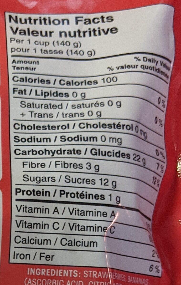 Great Value Sliced Strawberries & Bananas - Nutrition facts - en