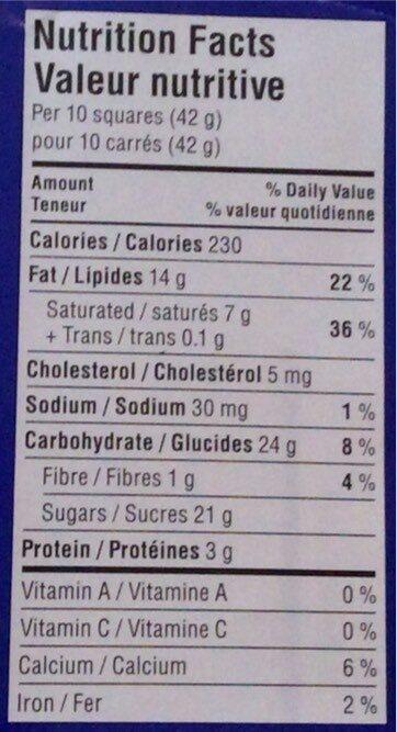 Chocolat au lait aux amandes - Nutrition facts - fr