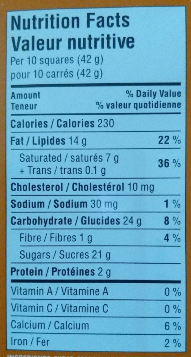 Milk chocolate - Nutrition facts - fr