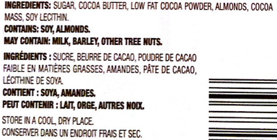 Almond Dark Chocolate - Ingredients