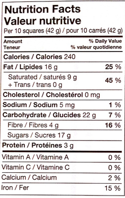 Almond Dark Chocolate - Nutrition facts