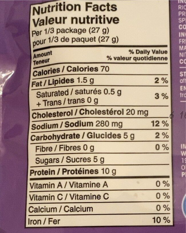 Beef jerky - Nutrition facts - fr