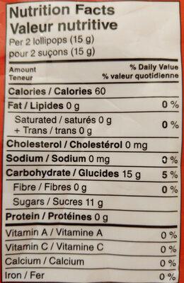 Strawberry & Creme Heart Lollipops - Informations nutritionnelles - en
