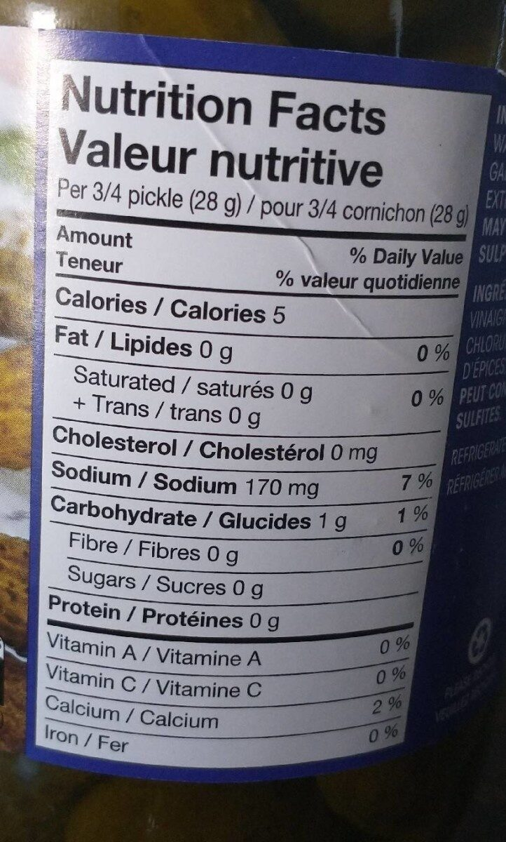 Great Value Garlic Pickles - Nutrition facts - fr
