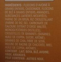 Granola bananes et noix - Ingredients