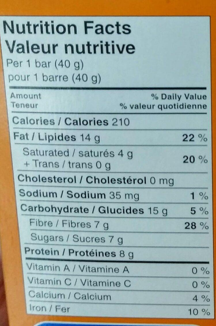 Barre aux noix beurré d arachide - Nutrition facts