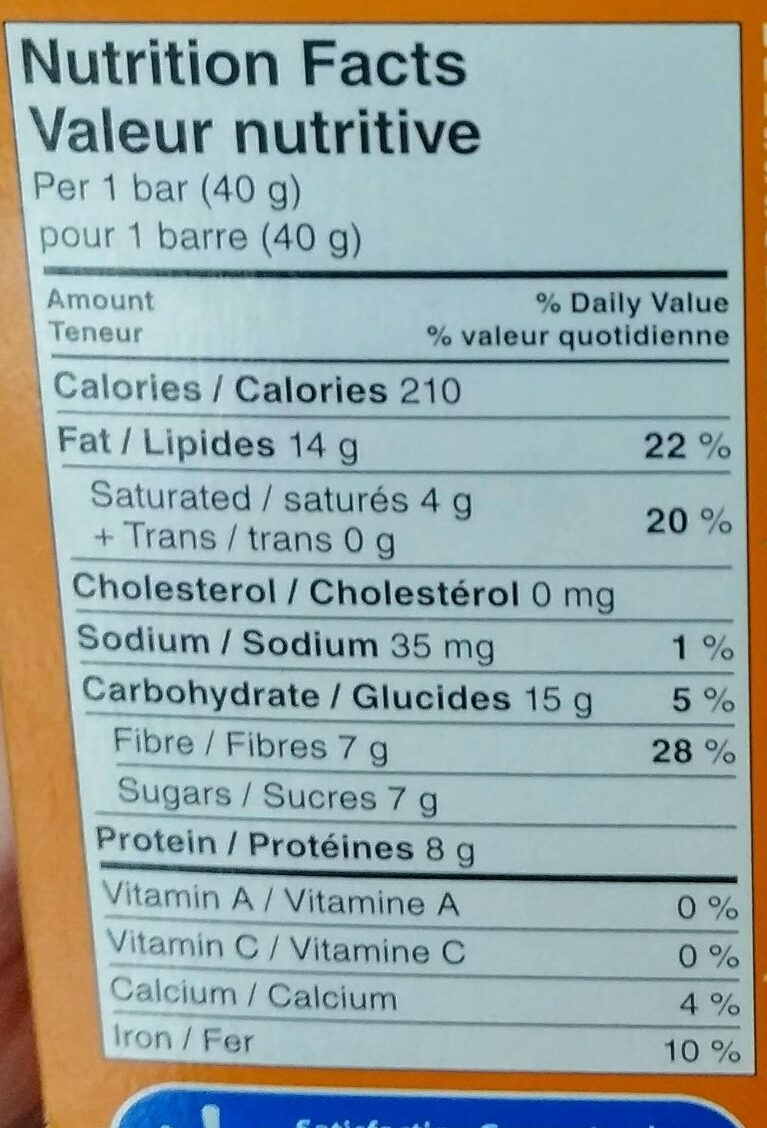 Barre aux noix beurré d arachide - Informations nutritionnelles - fr