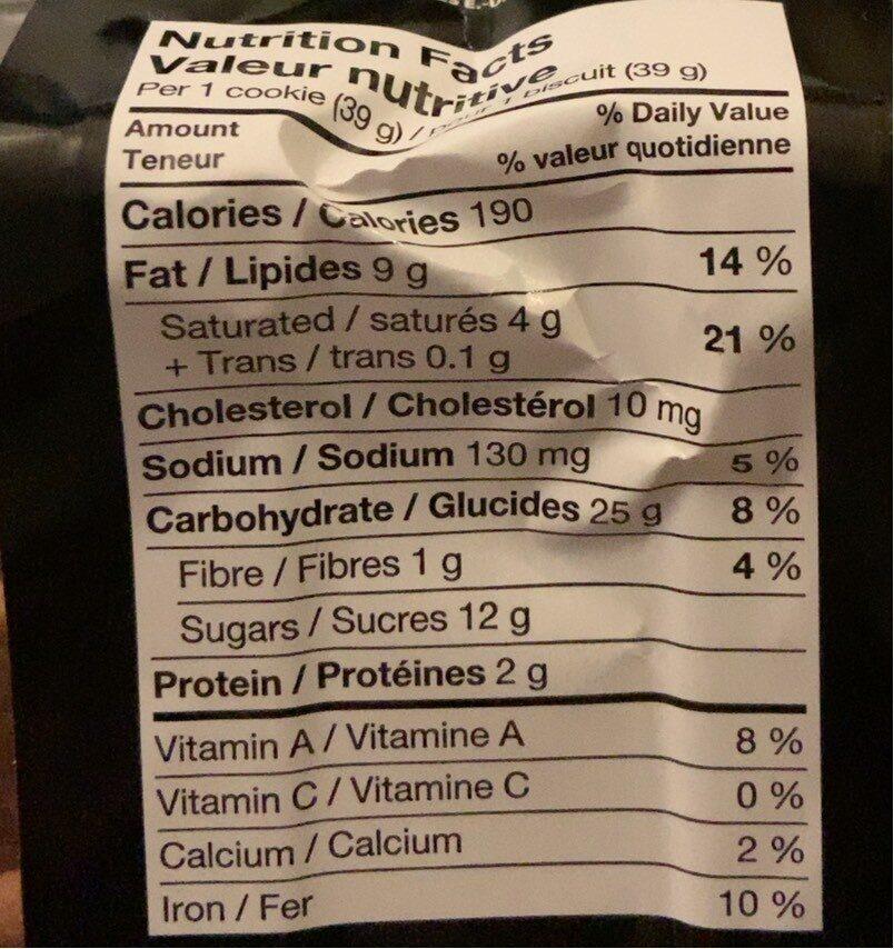 Cookies avoine pepites de chocolat - Informations nutritionnelles - fr