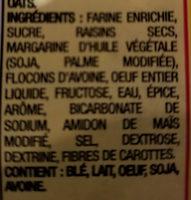 Biscuits Avoine et raisins sec - Ingrédients - fr