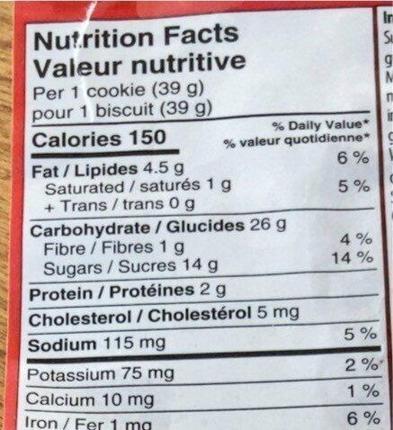 Biscuits Avoine et raisins sec - Informations nutritionnelles - fr