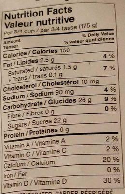 Crémeux – Vanille - Nutrition facts