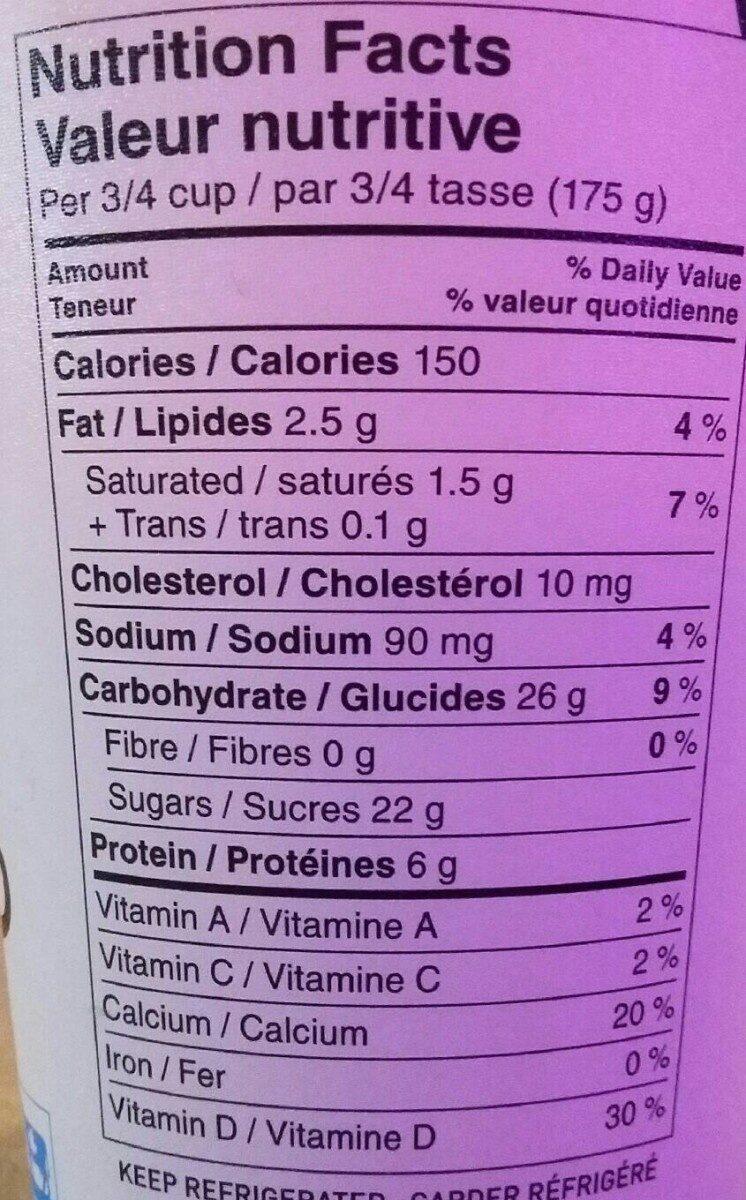 Yaourt vanille - Informations nutritionnelles - en