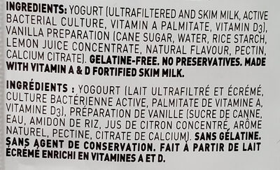 Greek Yogurt Vanilla 2% M. F. - Ingrédients - en