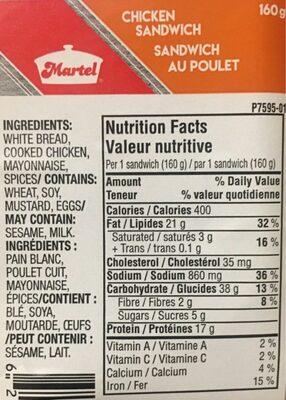 Sandwich au poulet - Voedingswaarden - fr