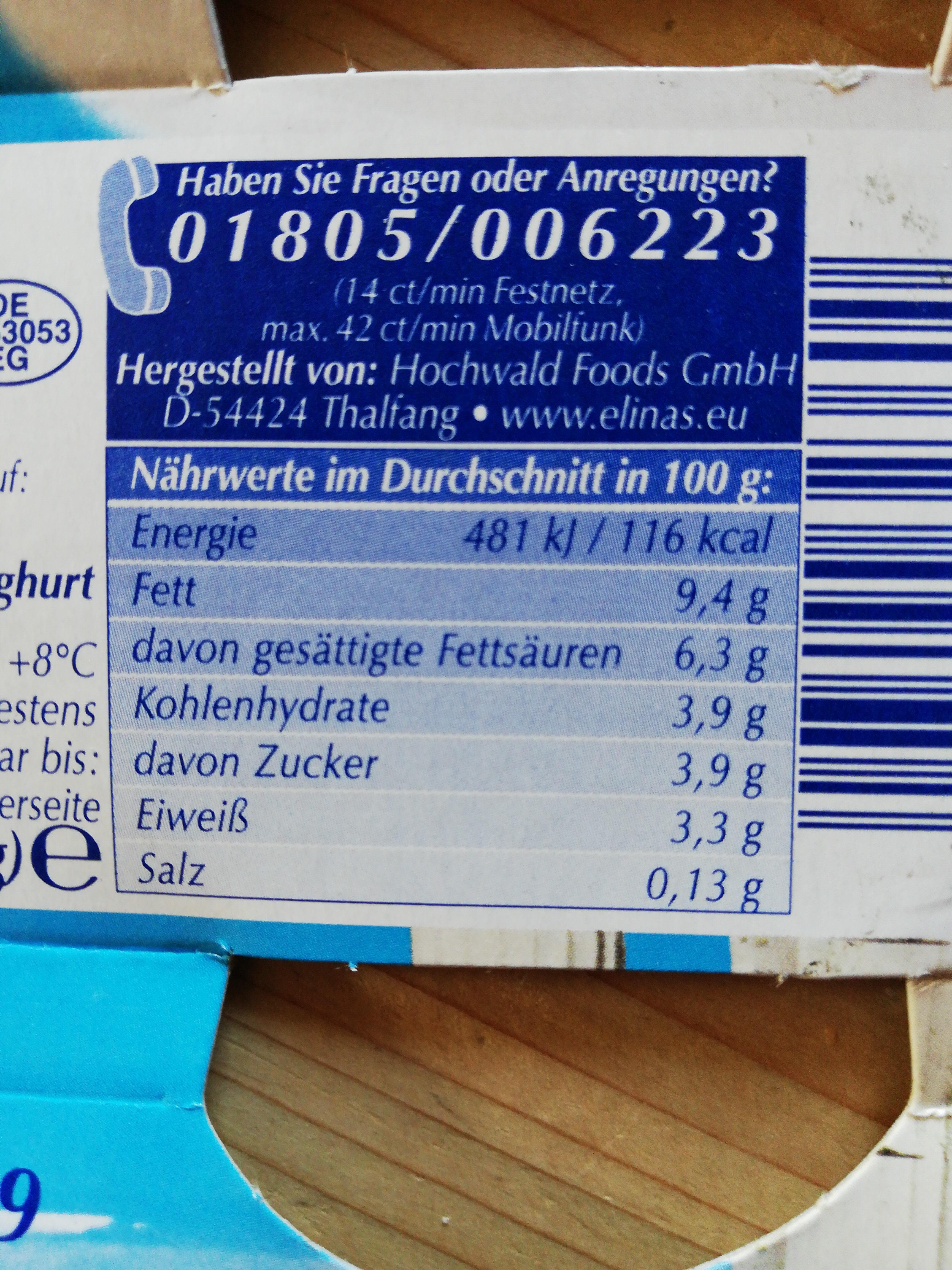 Elinas Joghurt Griechisch Art - Ingredients