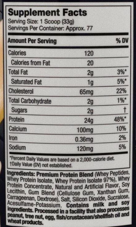 Nitro Tech Whey gold - Nutrition facts - en