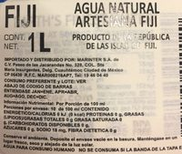 Agua Natural Artesanal - Ingredientes - es