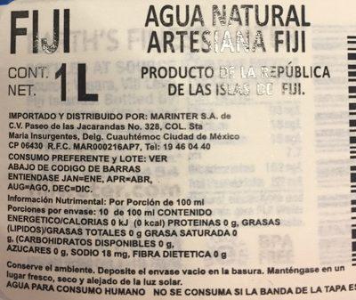 Agua Natural Artesanal - Información nutricional - es