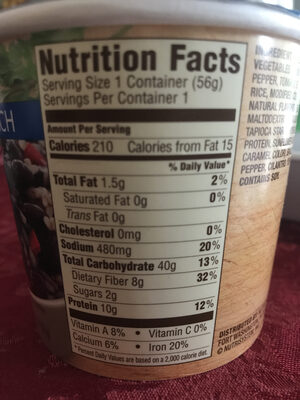 Black beans and rice - Nutrition facts - fr