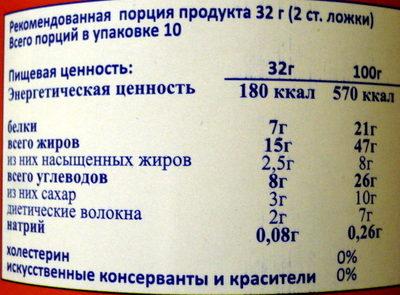 Арахисовая паста кремовая - Nutrition facts